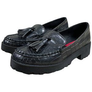 London Rebel Black Snakeskin Loafers